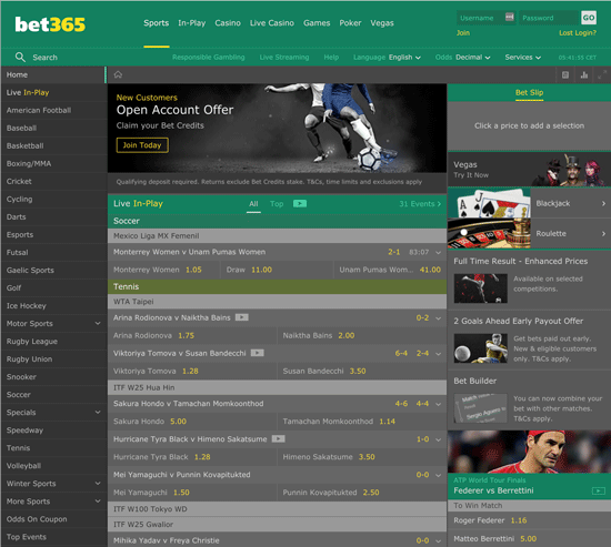 Bet365 homepage review